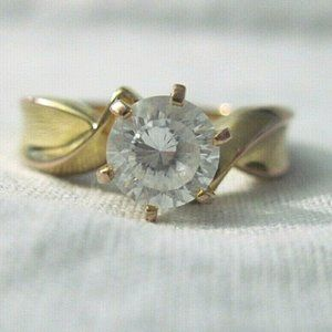 Goldtone Sterling Silver Solitaire CZ Ring